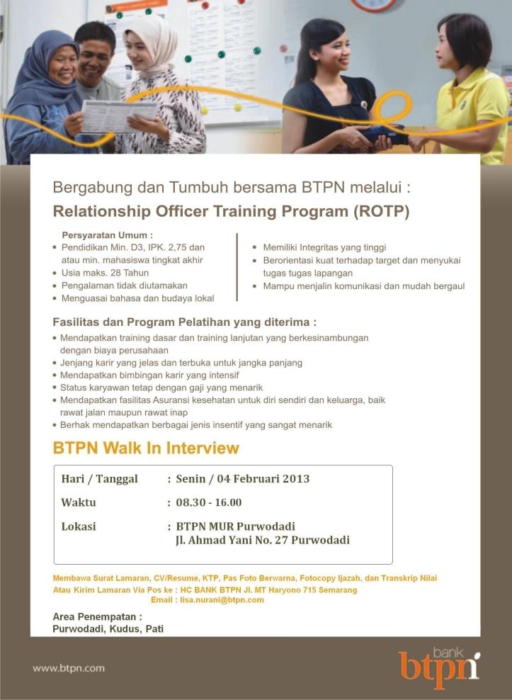 Info Lowongan Kerja Bank BTPN