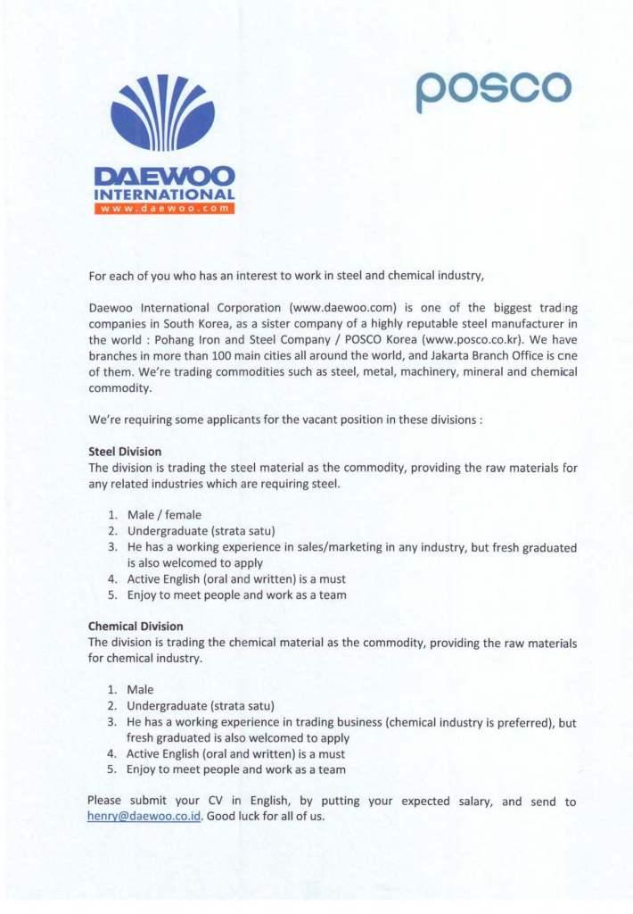 Daewoo Jab Vacancy